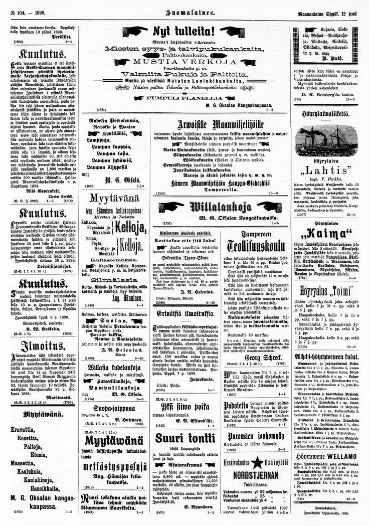 12.09.1898 Suomalainen no 104 - Sanomalehdet - Digitoidut aineistot - Kansalliskirjasto