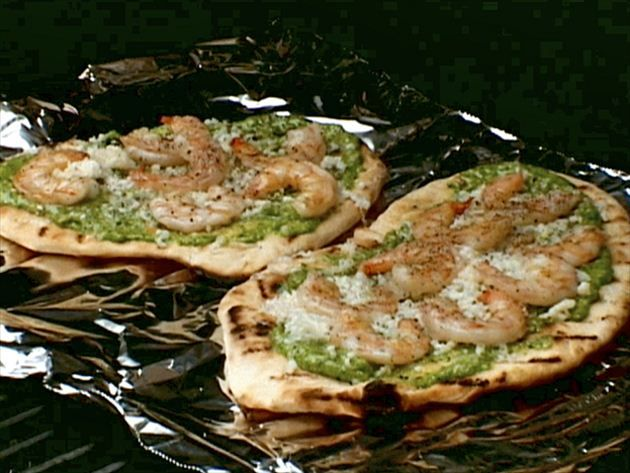 Grilled Shrimp and Cilantro Pesto Pizza Recipe from Food Network
