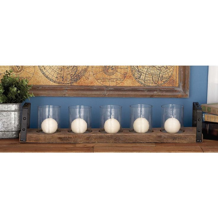 5 in. x 28 in. Rustic Farmhouse Iron, Glass and Mango Wood Candle Holder, Browns/Tans