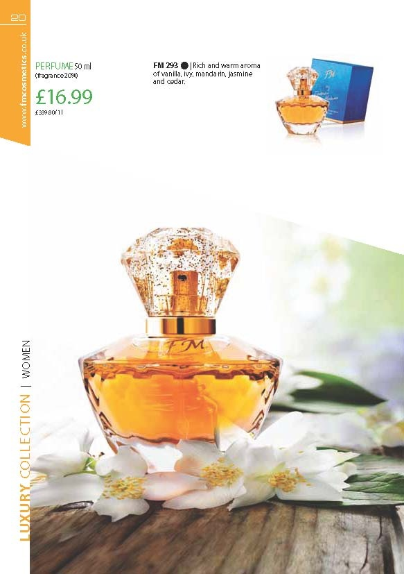 FM 293 Rich and warm aromas of vanilla, ivy, mandarin, jasmin and cedar. This is in the same fragrance family as DKNY – Be Delicious and only £16.99!!!