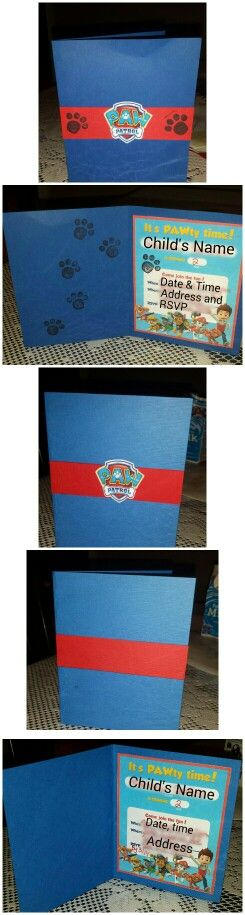 Paw Patrol Birthday Invite. Print out invites from Nick Jr, then mount onto 5 x 8 card stock folded in half. Place a strip of red card stock, the logo printed on white card stock. Finish off with the cute paw print stamps. Check out my other projects @ Pinterest @ady119.