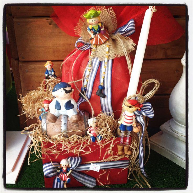 Πάσχα με χρώμα! Πειρατές!!! Περιέχει σοκολατένιο αυγό, λαμπάδα & κουμπαρά πειρατή! www.nikolas-ker.gr