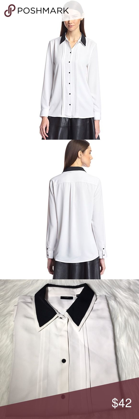 Illusion Double Collar Shirt The perfect shirt From desk to dinner. Modern double collar shirt with button front closure and 2-button cuffs. 100% Polyester. M Nordstrom Tops Blouses