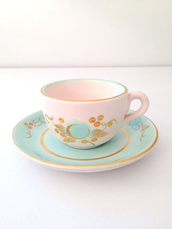 Mid Century Stangl Soft Aqua Teacup and Saucer Beach Tea Party Replacement China