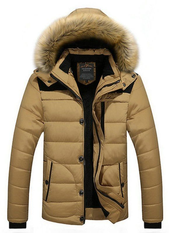 e8ad2472e7d78 Plus Size Faux Fur Collar Hooded Zip Up Thicken Quilted Jacket ...