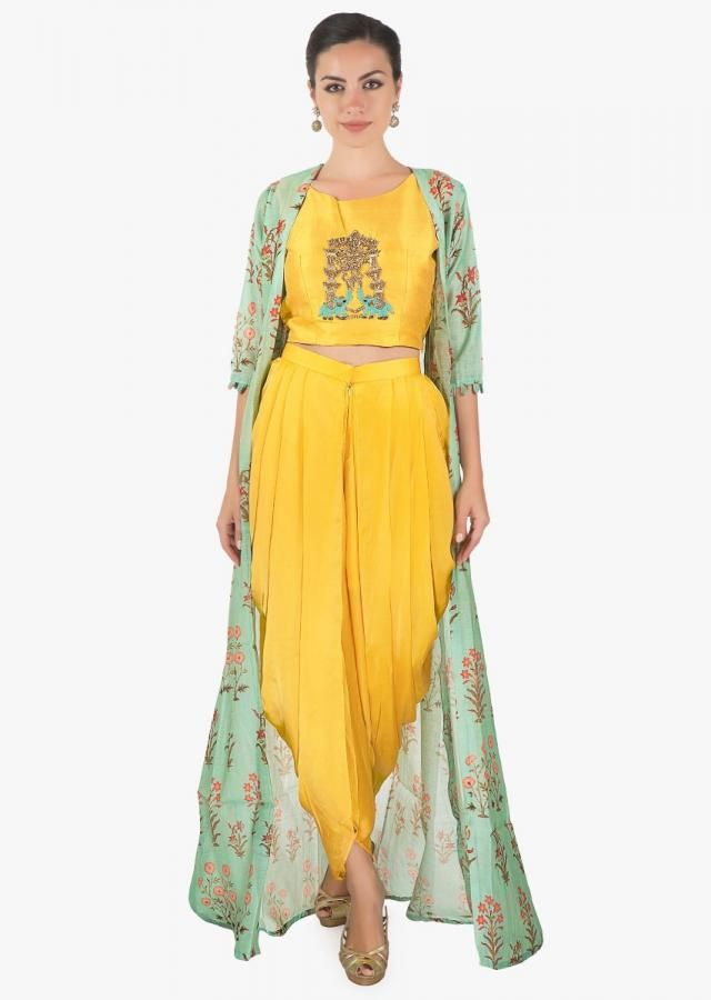 675044cf05e04 Yellow crop top matched with fancy dhoti pant and a full length floral  jackect only on kalki