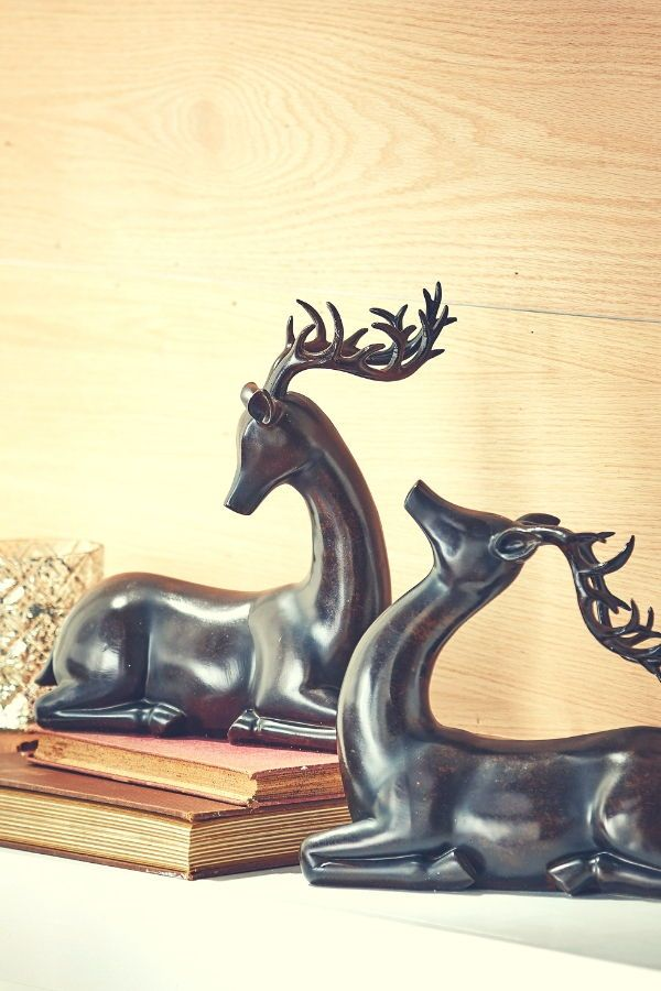 12 Inch Faux Mahogany Wood Reindeer Decor by RAZ Imports Set of 2 Holiday Reindeer Figures