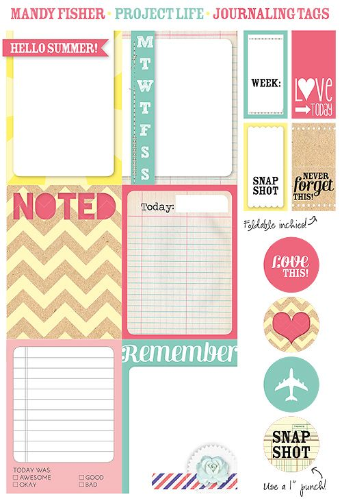 Free Project Life, Journaling, and Filler Cards