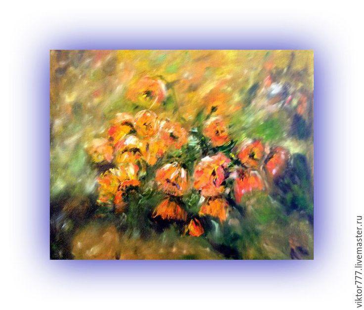 Купить Оранжевые маки.. - рыжий, маки пейзаж, природа, подарок на любой случай, зеленый