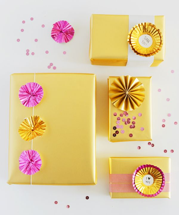 #papercraft #giftwrap.   pink and gold Christmas