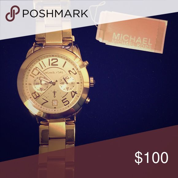 Gold Michael Kors women's oversized watch Watch shows evidence of wear, but not a lot at all. Needs a new battery and you're good to go! MICHAEL Michael Kors Accessories Watches