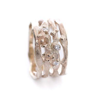Gouden ring bloem diamanten | Wim Meeussen Goudsmid Antwerpen