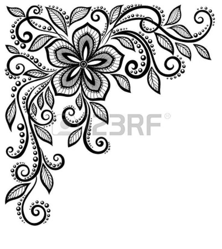 mooie zwart-wit kant bloem in de hoek met ruimte voor uw tekst en groeten Veel overeenkomsten in het profiel van de kunstenaar Stockfoto