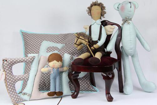 Cute things Komplet dla Filipa: poduszka anioł, miś i literki