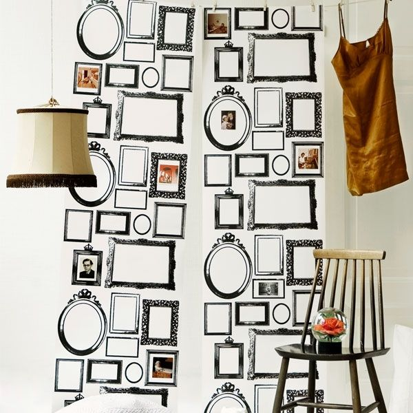 The 'Family' wallpaper features a collage of black & white frames that are precisely placed and add an unexpected visual experience to any room. Designed by Lisa Bengtsson, this fabulous wallpaper looks very elegant as a feature wall. Let your creativity run wild and personalize it by framing your favorite photo, piece of jewellery or architectural element -- just use your imagination!