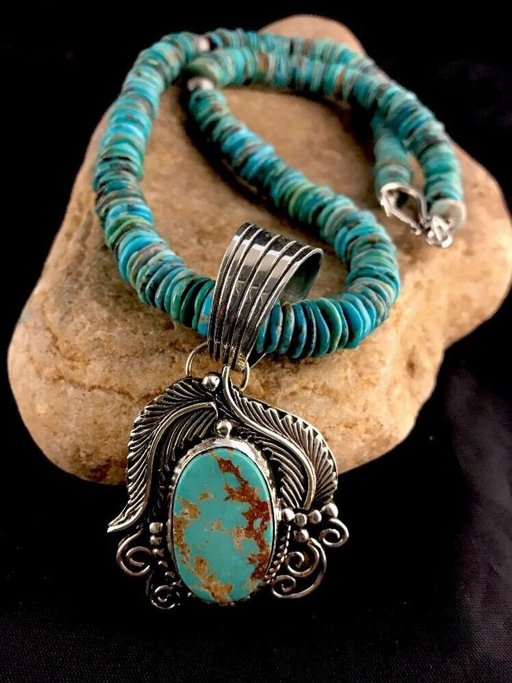 Native American Sterling Silver Royston Turquoise Bead Necklace & Pendant