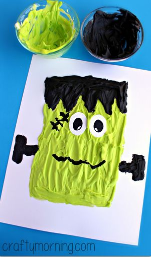 Puffy Paint Frankenstein Craft #Halloween craft for kids | CraftyMorning.com
