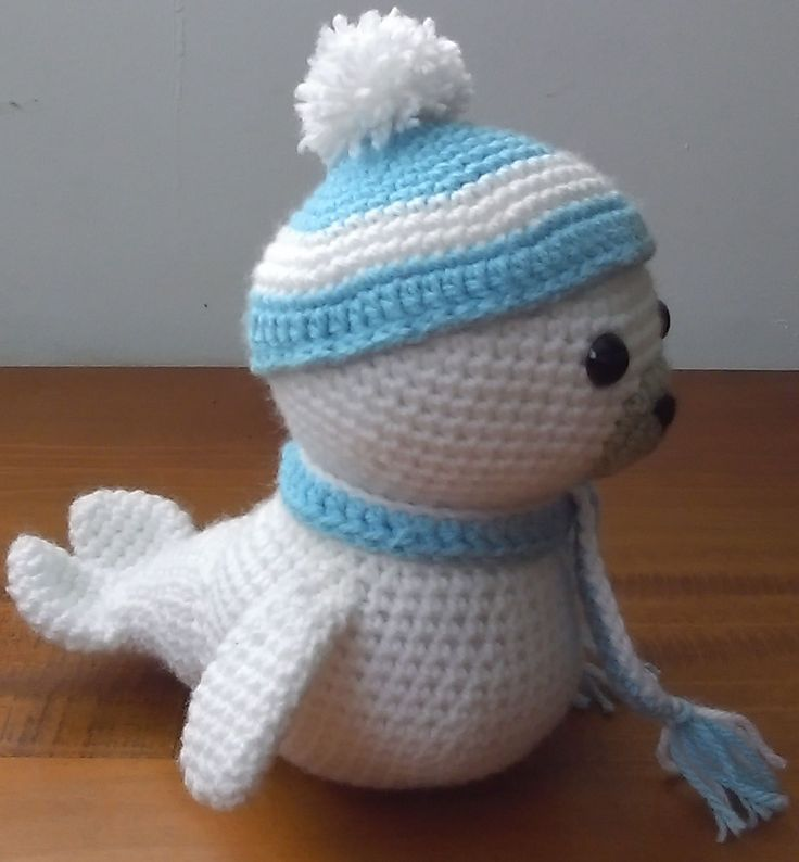 Amigurumi crochet baby seal. I call him Lil Bobby!