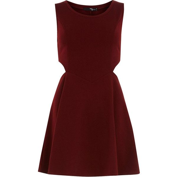 Burgundy cut-out skater dress ($58) ❤ liked on Polyvore featuring dresses, vestidos, robes, red, sleeveless dress, dorothy perkins dress, skater dress, red sleeveless dress and side cut out dress
