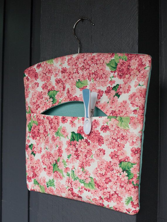 Fabric handmade floral peg bag/clothespin/knitting by freshdarling