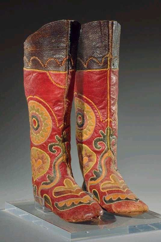 Sotheby's Pair of Central Asian Leather Applique Boots late 19th/early 20thC Lot 4 #Boot