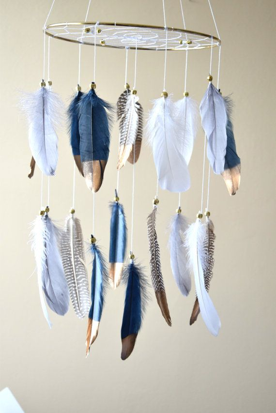 baby boy mobile, dream catcher, navy blue nursery, feather mobile, nursery mobile