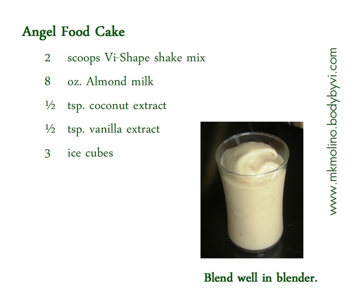 Almond milk contains no cholesterol and only 5 mg of sodium per serving.: Angel Food Cakes, Cakes Visalus, Vi Shak, Shakes Recipe, Protein Shakes, Smoothie Healthy Drinks, Healthy Junk, Healthy Food, Almonds Milk