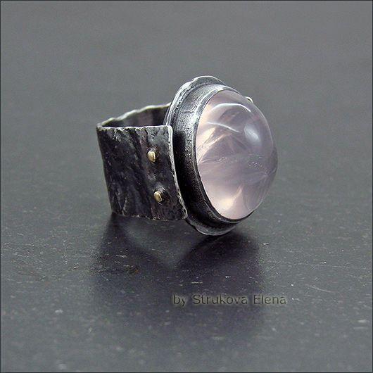 Купить Кольцо с розовым кварцем RES - бледно-розовый, крупное кольцо, кольцо с камнем