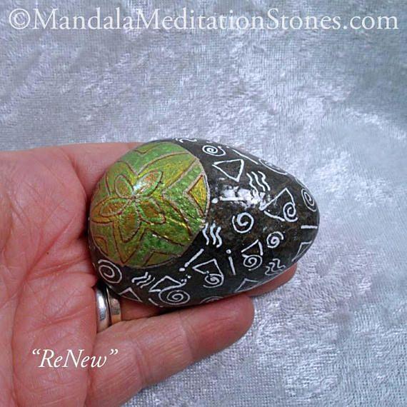 Renew: Hand-Painted Mandala Meditation Stone