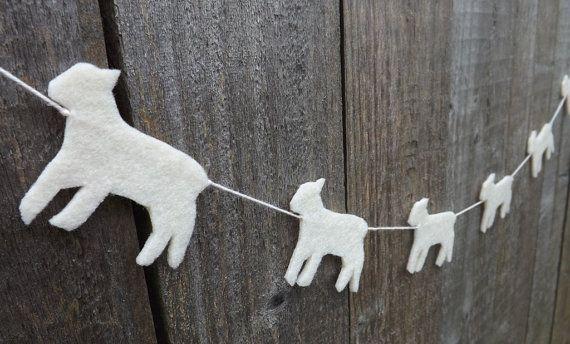 Mini Lamb Garland, Nursery Decor, Felt Garland, easter garland, Spring Garland, Lamb, Babys room, Baby Shower, Spring Lamb, Farm animals