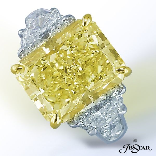 Fancy yellow radiant diamond with two half moons and round diamonds.  By JB Star.  Available at Alson Jewelers.
