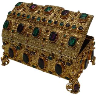 "Antique Austrian Jeweled Bronze Casket Hinged Box ""BIG GEMS"""