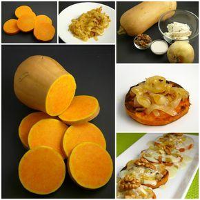 Ingredientes: Unas 6 rodajas de calabaza (de menos de 1cm de grosor) 1 cebolla, nueces, queso a elección, un par de cucharadas de le... Más