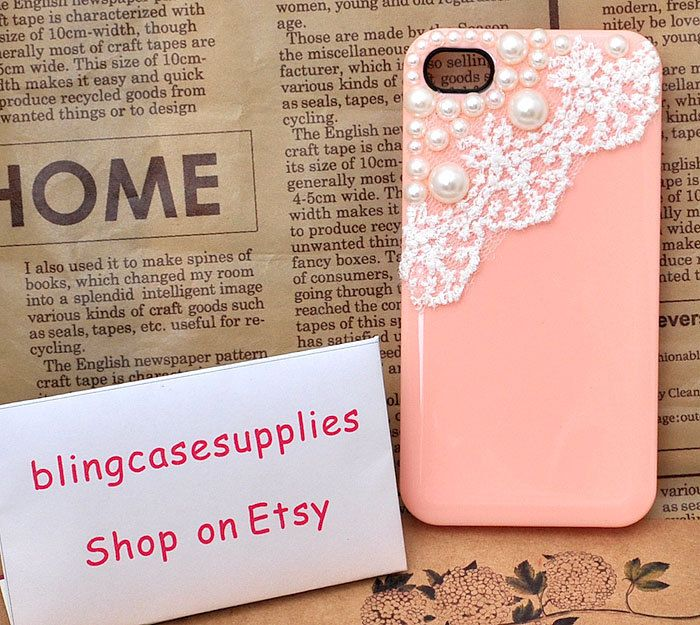 White lace acrylic pearl  High-quality honey peach cell phone case for iphone 4s apple skins. $8.90, via Etsy.
