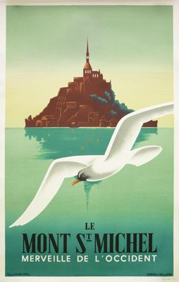 Mont Saint-Michel - 1937.  Artist: Fix-Masseau. A stunning 1930s piece by renown poster artist Fix-Masseau. Located off the northwestern coast of France, the Gothic style Benedictine Abbey dedicated to the archangel St Michael is a UNESCO World Heritage site, and a major tourist destination. This stunning poster is hand signed by the artist.
