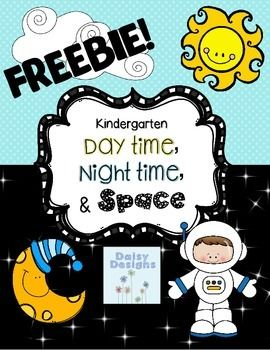 """This is a FREE sample of my Kindergarten Day Time, Night Time, and Space Pack ! There are 3 easy printables for your students to enjoy during this fun Science unit!Included:Day Time, Night Time color and write pageWhat Does It Look Like? drawing and labeling page""""I see the sun"""" Sentence Builder pageClick HERE to see the full product which includes centers, more NO PREP printables, emergent readers, interactive notebook pages and more!"""