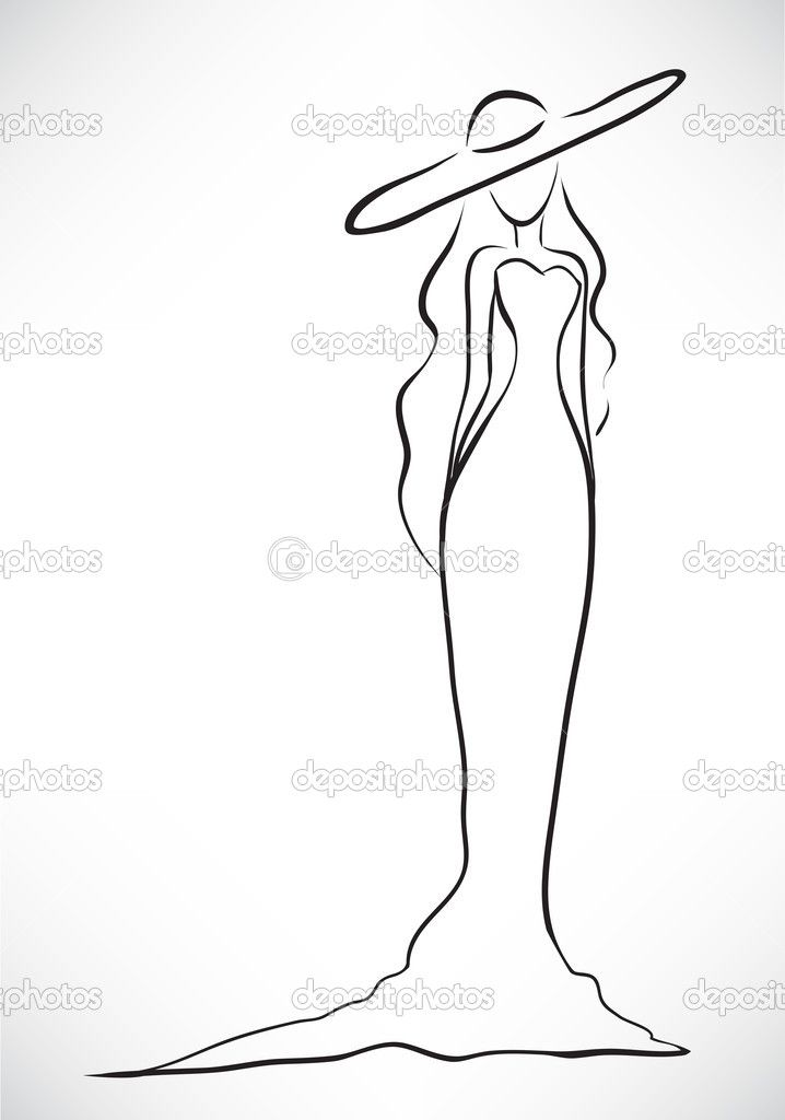 Изящный силуэт женщины — стоковая иллюстрация #35090365