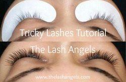 Semi-permanent eyelash extension tutorial on tricky lashes. The Lash Angels www.thelashangels.com