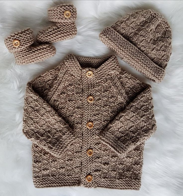 A baby knitting pattern made using Dk yarn, consisting of a cardigan, hat and booties. Find this knitting pattern and more baby inspiration at LoveKnitting.Com.