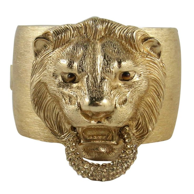 Ciner NY Brushed Gold Lion Head Cuff