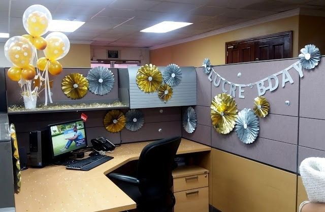 Desk Celebration Decorations That Are Way Too Fun For Work Paper Wheel Design Cubicle Birthday Decorations Office Birthday Decorations Decorate Desk At Work