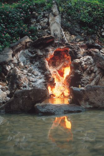 """Also known as """"Water and Fire from the Same Source,"""" the Water and Fire Cave is one of Taiwan's most extraordinary sights, and also one of the Eight Sights of Tainan County. ~ Scenery (另開視窗)"""