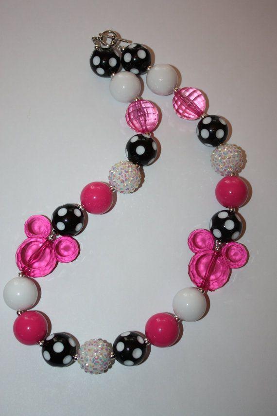 "20"" Minnie Mouse Bubble Gum Necklace on Etsy, $16.00"