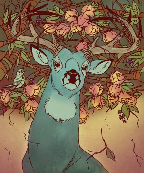 Love the colors buck stag deer art with roses