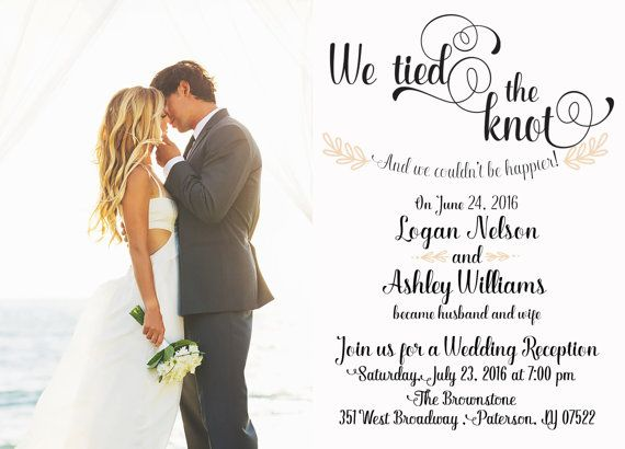 Post-Wedding Reception invitation; elopement announcement