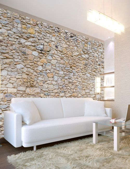 Carta da parati muro di piccole pietre carta da parati for Carta da parati effetto muro