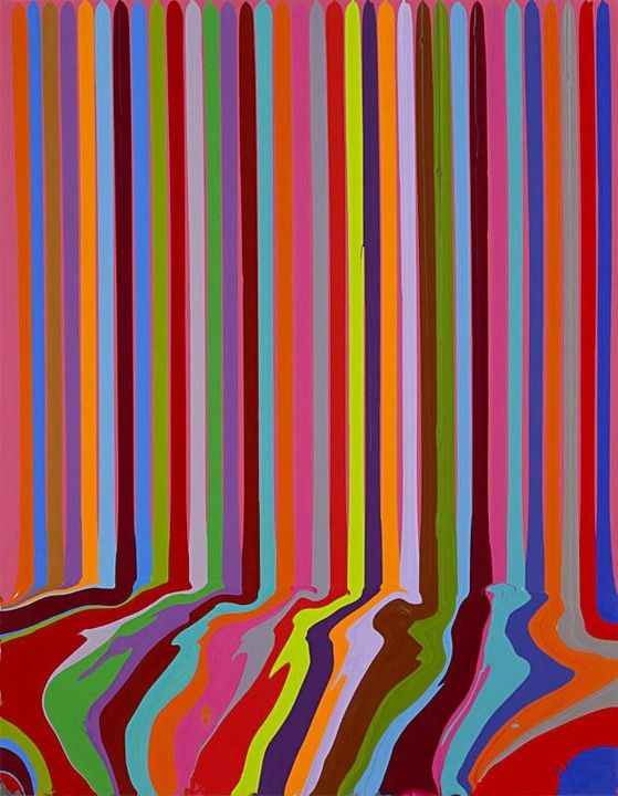 Ian Davenport Puddle Painting: Magenta, 2008 acrylic paint on stainless steel