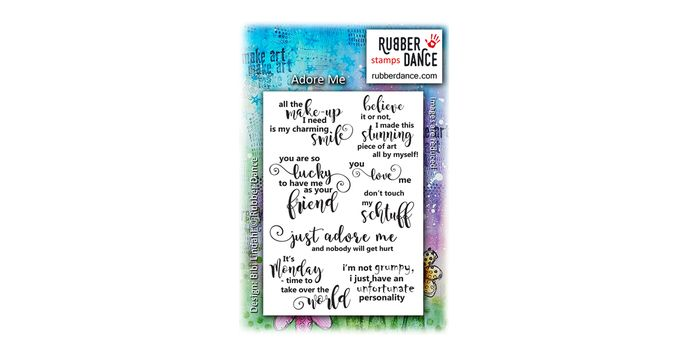 Adore Me. Set of UN-mounted, red rubber stamps. Sheet size is about 13 x 9 cm.  Funny things to say - not only about yourself, but combined with animal stamps, for instance, you can make some really funny cards!