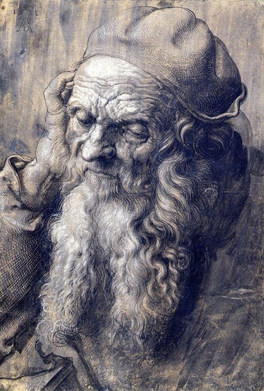 sealmaiden:  AlbrechtDürer 1471-1528 Study of a Man Aged 93, 1521 Drawing
