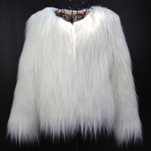 Mulheres Brancas da Pele Do Falso do Revestimento do Revestimento Inverno Quente Casacos de Lã Das Mulheres Casacos Furry Longo Cabelo Vison Branco Casaco SWQ0080-5